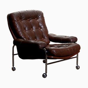 Chrome and Brown Leather Easy Chair by Scapa Rydaholm, Sweden, 1970s