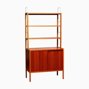 Teak, Oak and Brass Bookcase by Bertil Gottfrid Hagen for Bodafors, Sweden, 1960s
