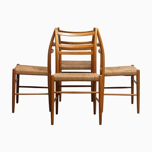 Slim Beech Seagrass Gracell Dining Chairs by Yngve Ekström for Gemla, 1960s