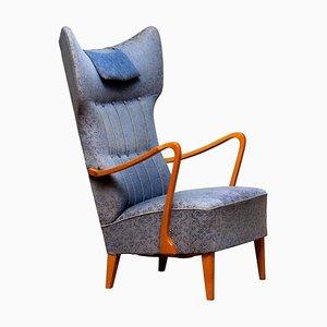 Slim Art Nouveau Swedish Wingback Chair in Oak with High Backrest, 1920s
