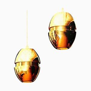 Lampe à Suspension Egg en Laiton par Hans-agne Jakobsson, 1950s, Set de 2