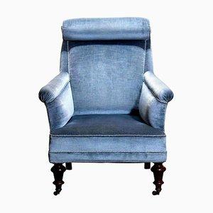 Ice Blue Velvet Dorothy Draper Style Bergère Lounge Chair, 1900s