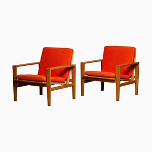 Lounge Chairs in Oak Leather Fabric by Erik Merthen for Ire, 1960s, Set of 2