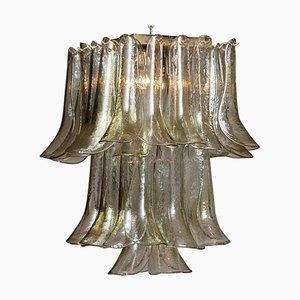 Deckenlampe in Hellgrün & Tonklaren aus Kristallglas in Blüten-Optik von La Murrina, 1970er