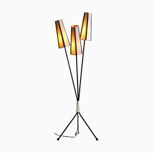 Black Three-Light Floor Lamp, Sweden, 1950s