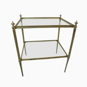 Hollywood Regency Brass & Glass Side Table from Maison Jansen