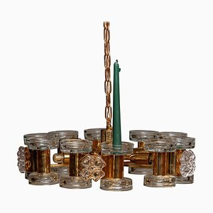 Gilded Chandelier with Ten Candlesticks and Five Screw Bulbs from Orrefors, 1970s