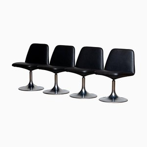 Black Vinga Swivel Chairs by Börje Johanson Markaryd, Sweden, 1970s, Set of 4