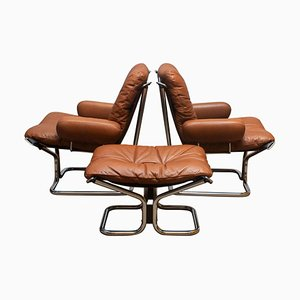 Lounge Set in Cognac Leather and Steel by Harald Relling for Westnofa, Norway, 1970s, Set of 3