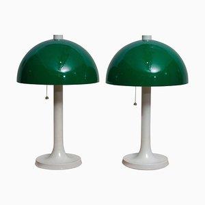 Fiberglass Desk Lamps by Falkenbergs Belysning, Sweden, 1970s, Set of 2