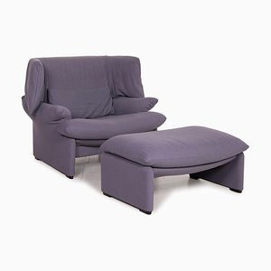 Maralunga Purple Armchair and Ottoman from Cassina, Set of 2