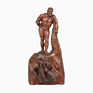 Handgeschnitzte Figur eines Herkules aus Holz, 1900er