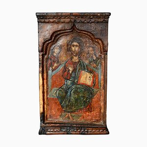18th-Century Hand Painted Wooden Icon of Jesus Mary and John
