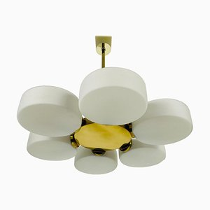 Brass 6-Arm Space Age Chandelier from Kaiser, 1960s