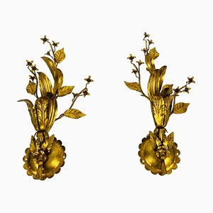 Golden Florentine Flower Shape Wall Lamps by Banci, Italy, 1970s, Set of 2
