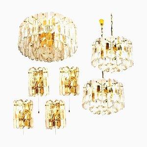 Lampade da palazzo in ottone dorato e vetro di JT Kalmar, anni '70, set di 7
