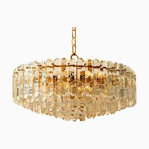Large Palazzo Chandelier in Gilt Brass and Glass from Kalmar, Austria, 1970s