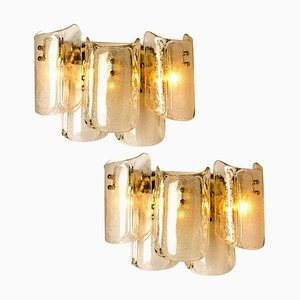 Large Massive Glass Wall Sconces in the Style of Kalmar, Set of 2