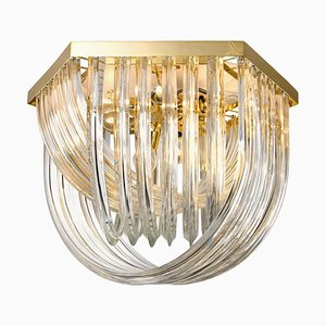 Venini Flushmount in Curved Crystal Glass and Gilt Brass, Italy