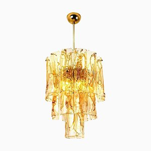 Brass Clear and Amber Spiral Glass Chandelier from Doria, 1970s