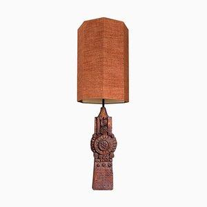Große Keramik Tischlampe von B. Rooke mit Maßgefertigtem Lampenschirm aus Seide von René Houben
