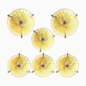 Thick Massive Handmade Glass Brass Flush Mount, 1960