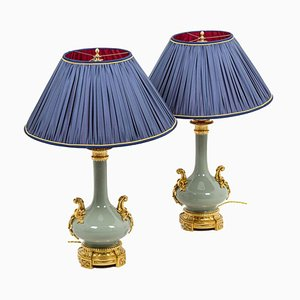 Napoleon III Lamps in Celadon Porcelain and Gilt Bronze, Set of 2