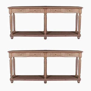 French Oak Console Tables, Set of 2