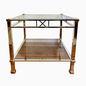 Golden Brass & Tinted Glass Coffee Table, 1970s
