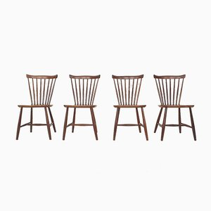 Teak Spindle Back Chairs by Yngve Ekstrom for Nesto, 1950s, Set of 4
