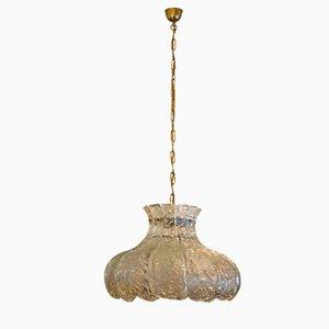 Lampe à Suspension en Verre Givré par J.T. Kalmar