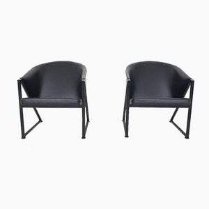 Black Metal and Leather Lounge Chairs by Jouko Jarvisalo for Inno, Finland, 1980s, Set of 2