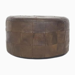 Patchwork Leather Ottoman, The Netherlands 1960s