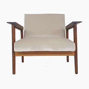 Scandinavian Teak Armchair with New Beige Upholstery, 1960s