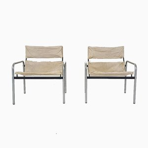 Dutch Canvas and Metal ''Ultrex'' Lounge Chair by Just Meijer for Kembo,1970's