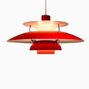 Lampe à Suspension PH5 Rouge par Poul Henningsen pour Louis Poulsen
