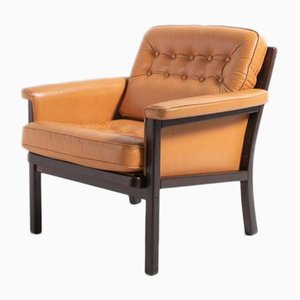 Vintage Scandinavian Design Lounge Chair in Cognac Leather, 1970s