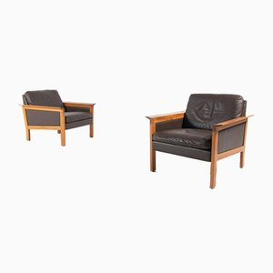 Lounge Armchairs in Brown Leather by Hans Olsen, Denmark, 1970s, Set of 2