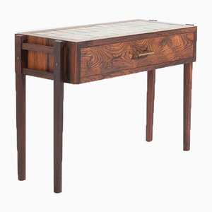 Danish Ceramic Tiles Top Rosewood Side Table, 1960s