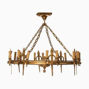 Runder gerundeter Napoleon III Kronleuchter aus Bronze