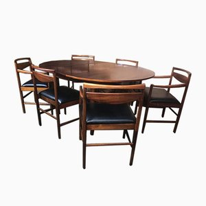 Large Rosewood Expandable Dining Table with 6 Rosewood Dining Chairs, Set of 7