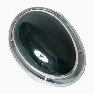 Silver and Green Agate Brooch from Michelsen