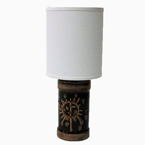 Schwedische Tischlampe aus Braun Glasierter Keramik von Carl Harry Stålhane, 1960er