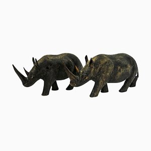 Vintage Wooden Rhinos, 1940s, Set of 2