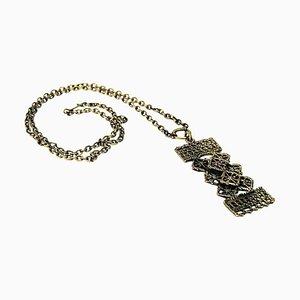 Collar rectangular de bronce de Pentti Sarpaneva, Finland, años 60