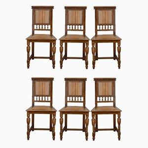 Italian Vienna Straw & Walnut Chairs, 1890s, Set of 6