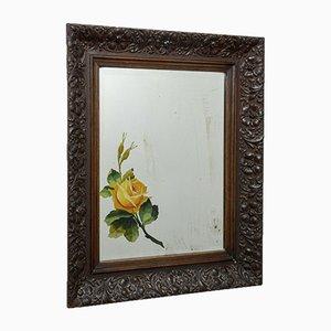 Espejo con marco de madera floral tallada