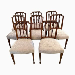 19th Century Victorian Carved Mahogany Dining Chairs, Set of 8