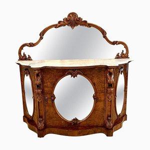 Espejo victoriano antiguo de nogal con marco de nogal, siglo XIX