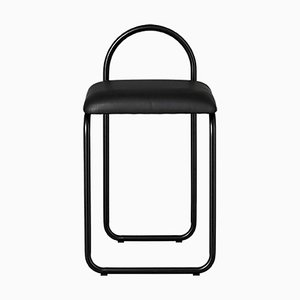 Minimalistischer Schwarzer Leder Esszimmerstuhl